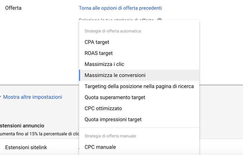 ottimizzare offerta google ads
