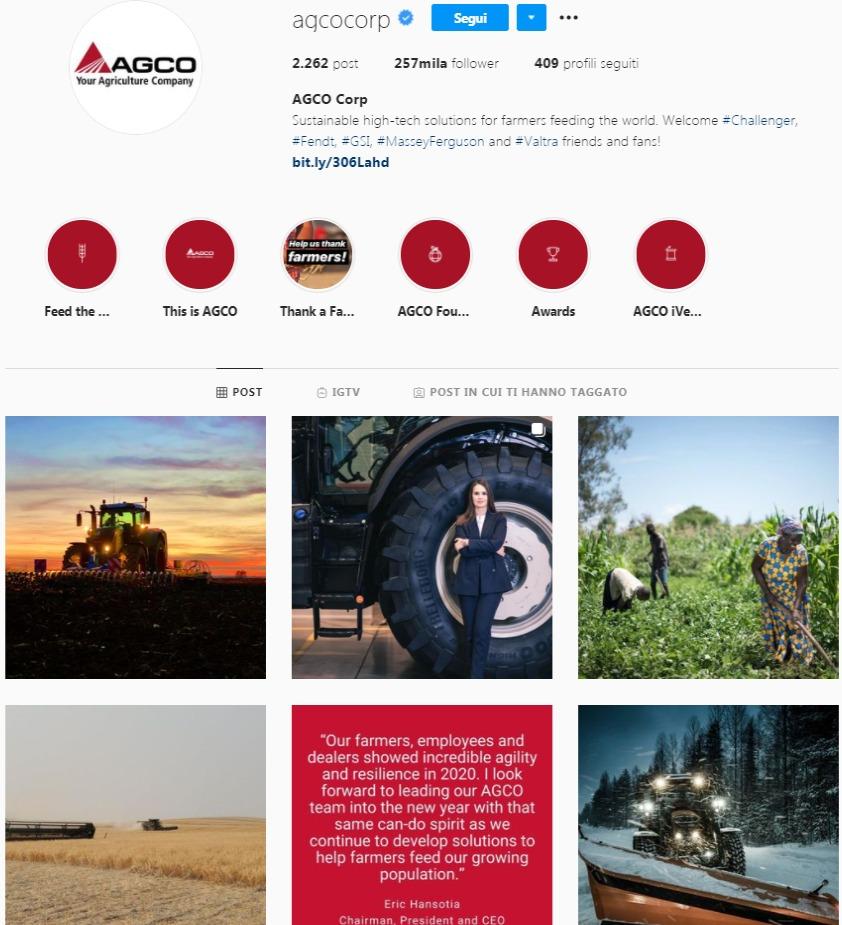strategia vendita azienda esempio AGCO Instagram
