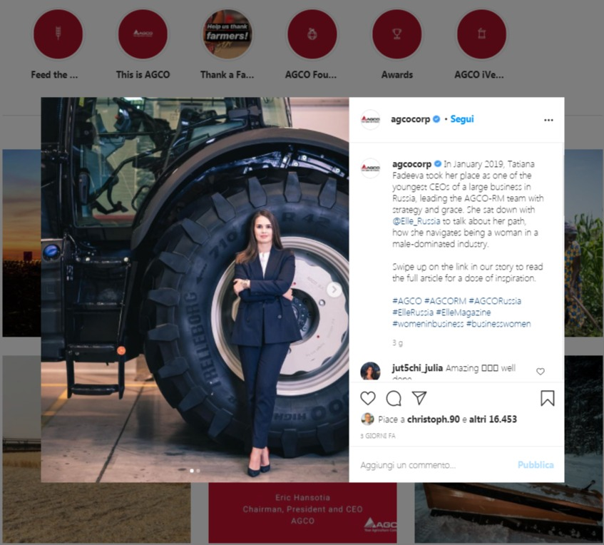 strategia vendita b2b agco instagram